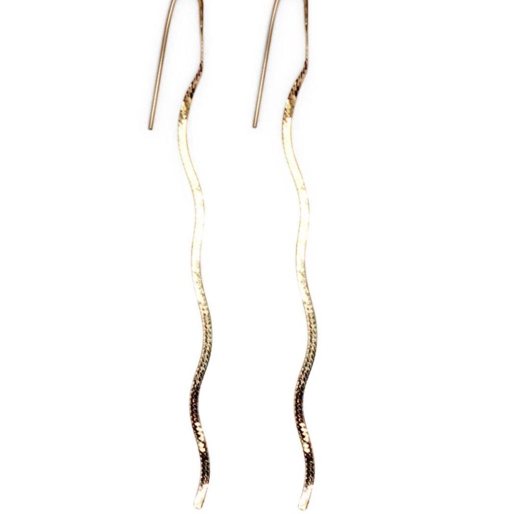 Amanda Hunt 14K Gold Liquid Chain Earrings