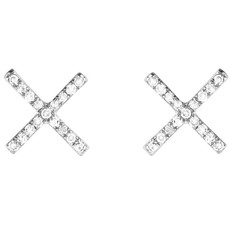Brooklyn Diamond Pave X Earrings Silver