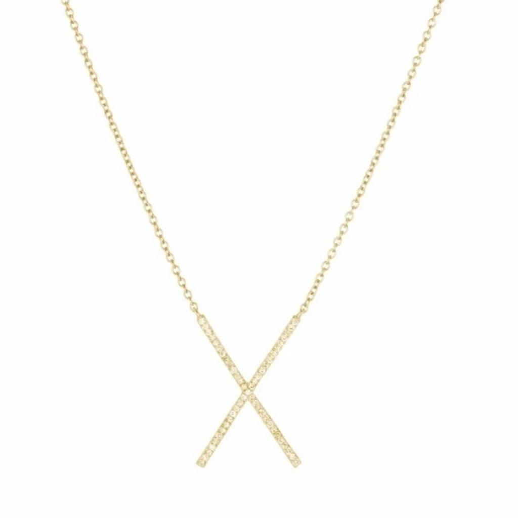 Brooklyn Diamond Pave X Necklace Gold
