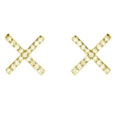 Brooklyn Diamond Pave X Earrings Gold