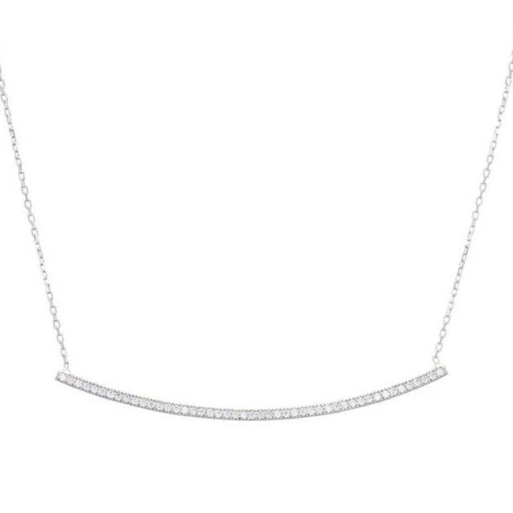 Pave Bar Necklace CZ Silver Pave