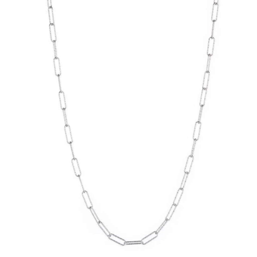 Croatia Rectangle Diamond Cut Link Necklace Silver