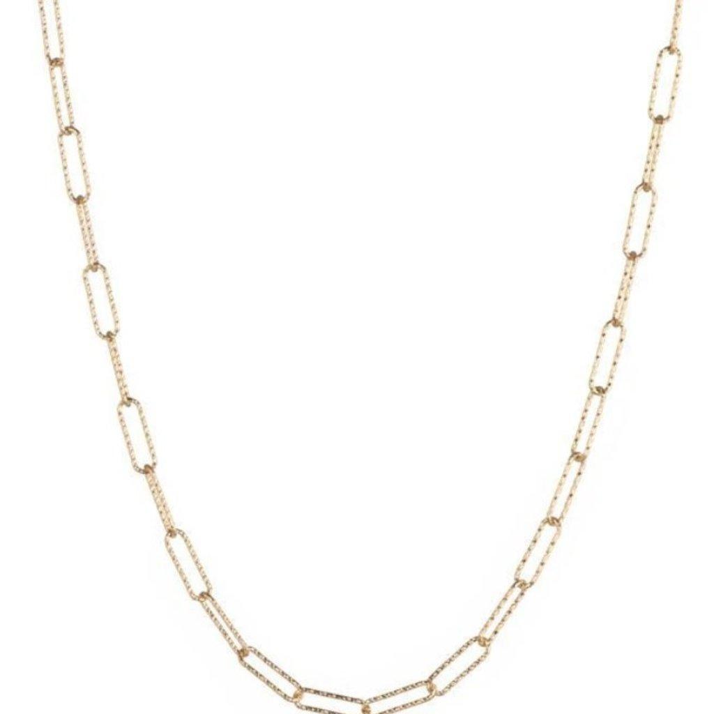 Croatia Rectangle Diamond Cut Link Necklace Gold