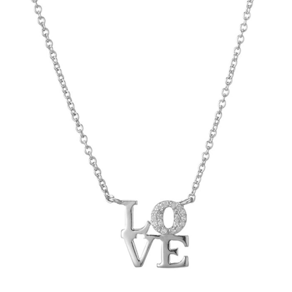 Brooklyn Love Pave Diamond Necklace Silver