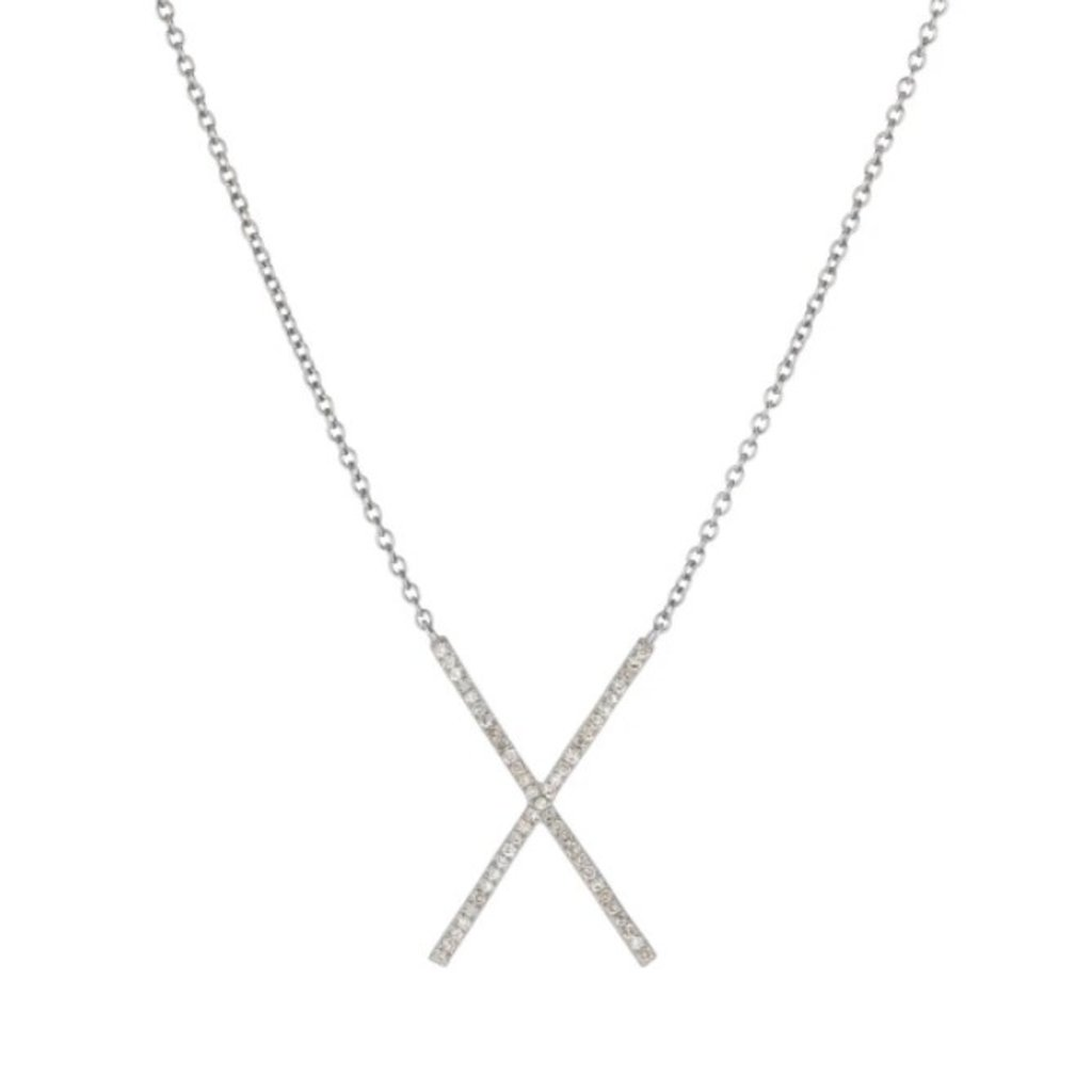 Brooklyn Diamond Pave X Necklace Sterling Silver