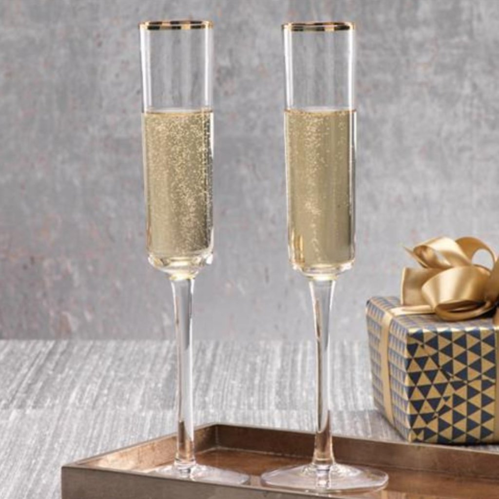 Tall Champagne Flute with Gold Rim Set of 4