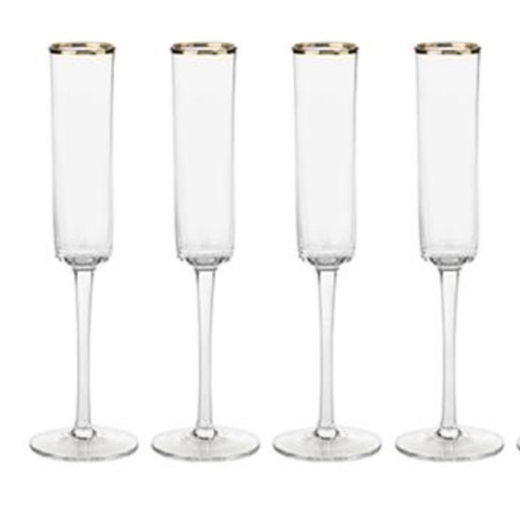 Zodax Tall Champagne Flute with Gold Rim Set of 4
