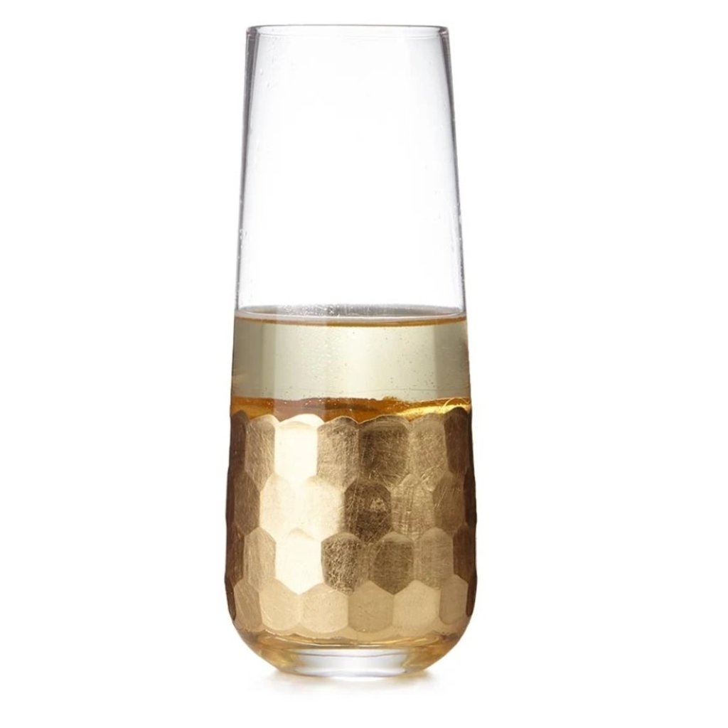 Zodax Fez Cut Stemless Champagne Glass with Gold Leaf, Sold As Set of 4