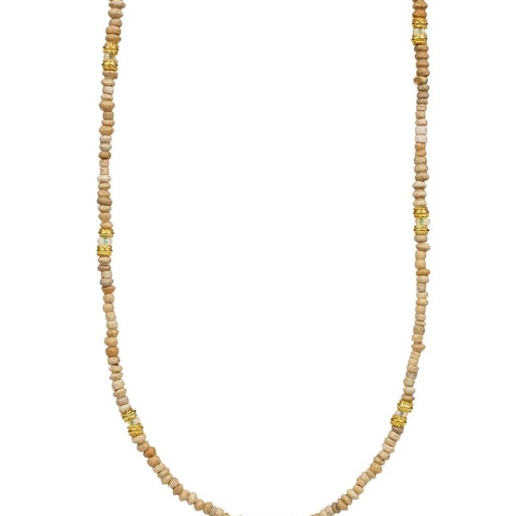Lulu Coast Terracotta Beaded Necklace w Prayer Charm
