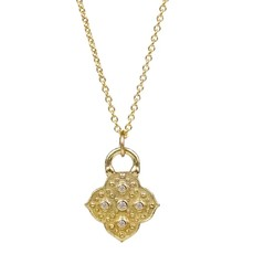 Lulu Muse Yellow Bronze 5 Diamond Necklace