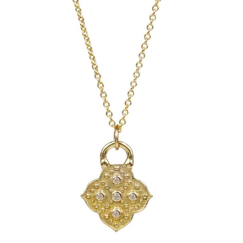 Lulu Muse Yellow Bronze 5 Diamond Necklace