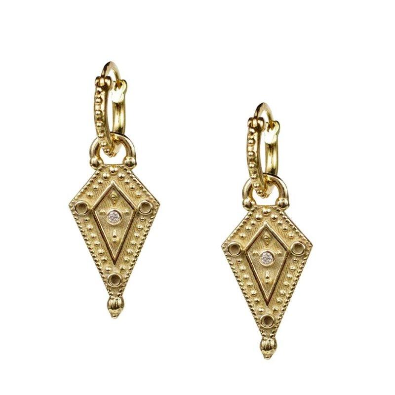 Lulu Venus Yellow Bronze w White Diamond Earrings