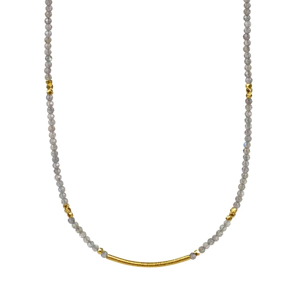Lulu Zephyr Beaded Necklace - Mother of Pearl