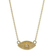 Lulu Ajna Yellow Bronze w White Diamond Necklace