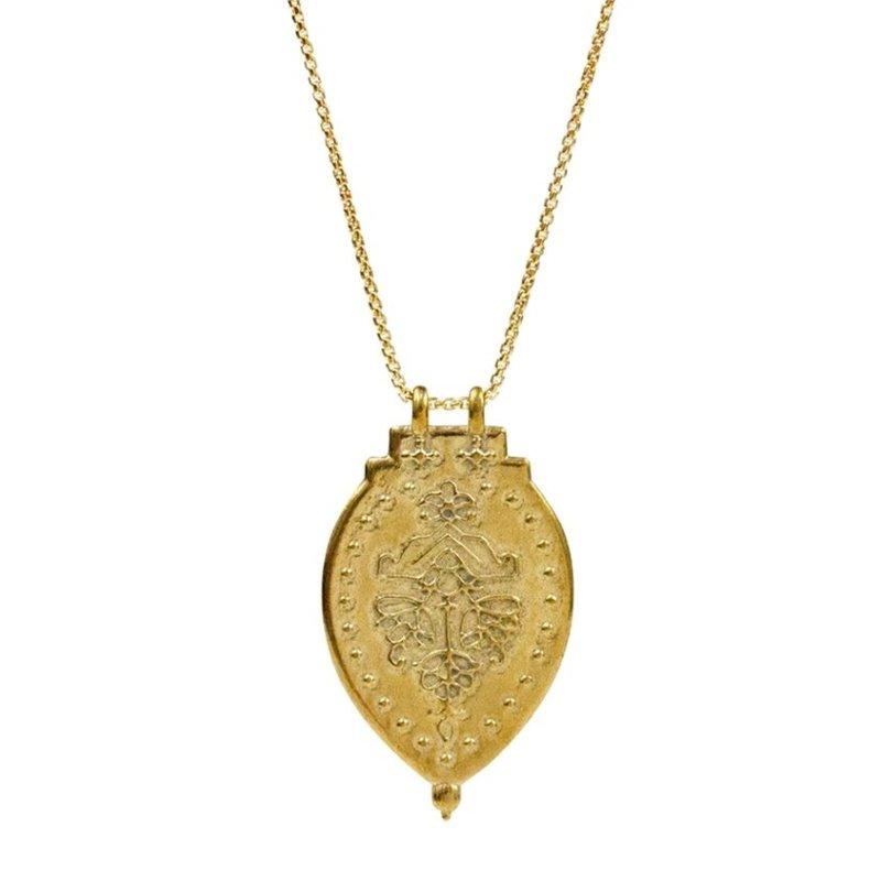 Lulu Laxmi Yellow Bronze Shield Necklace