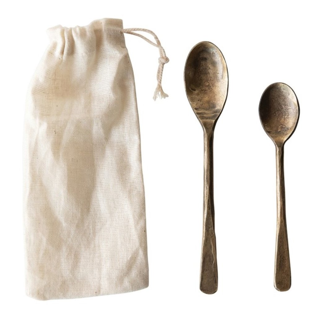 Hand-Forged Metal Spoons in Drawstring Bag, Antique Brass Finish, Set of 2