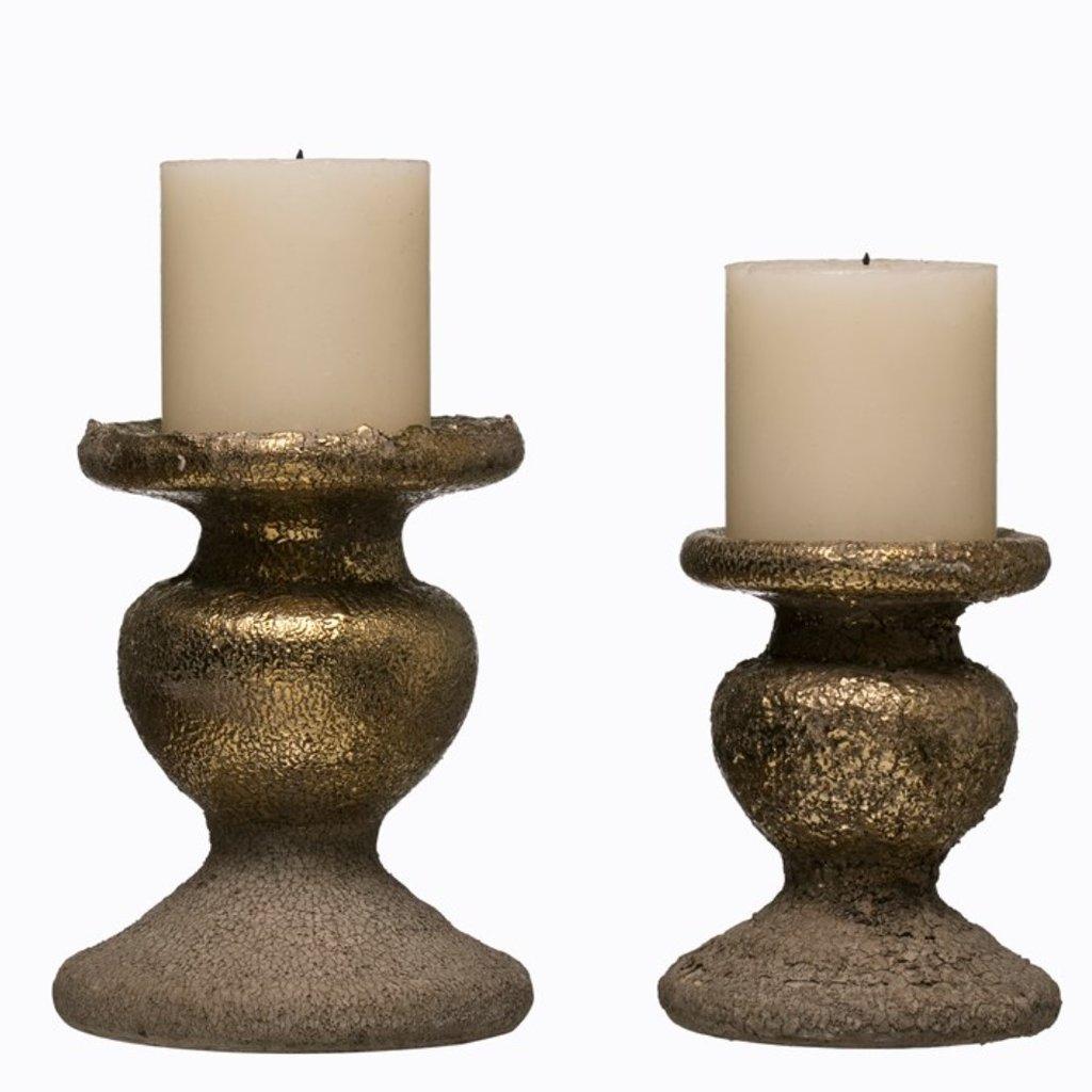 Terra-cotta Candle Holder, Gold Finish Large