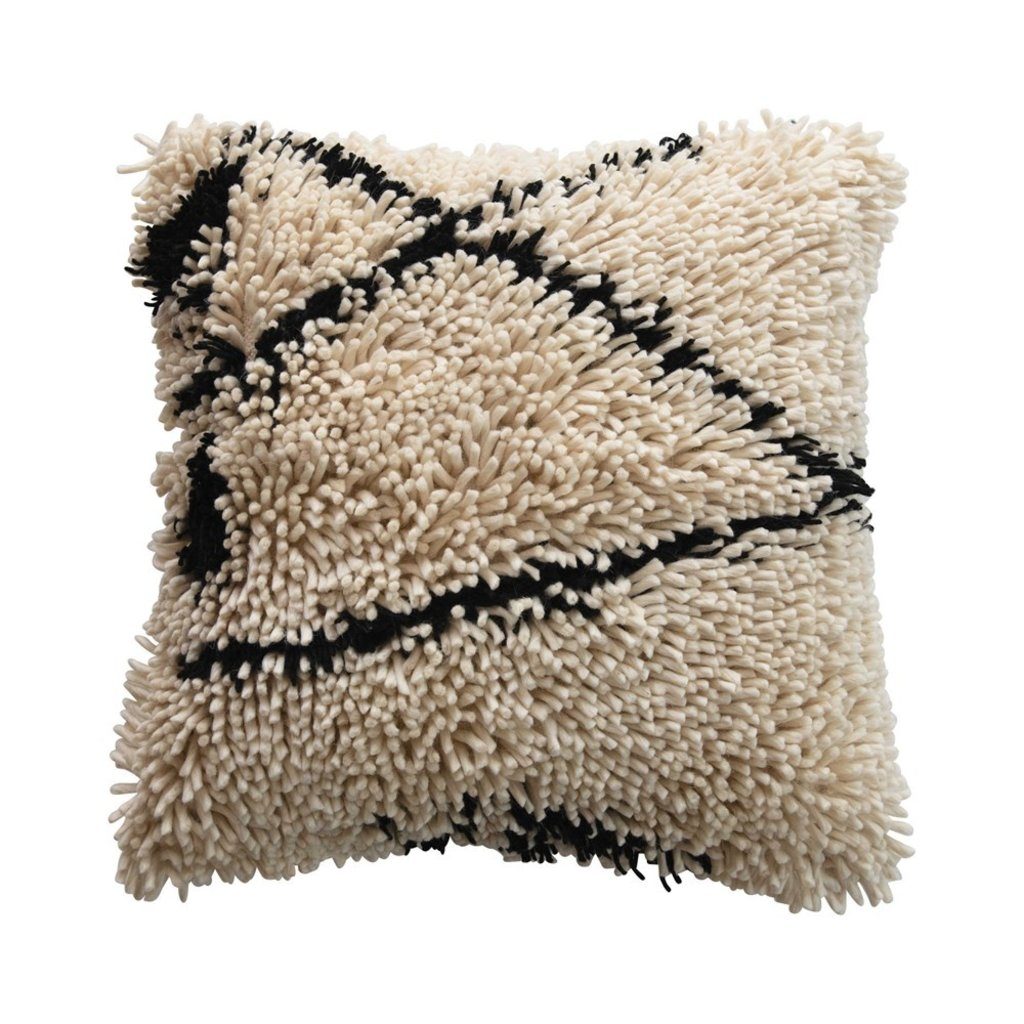 Square Woven Wool Shag Pillow