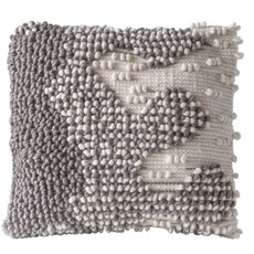 """20"""" Square Hand-Woven Wool Looped Pillow, Grey & Natural"""