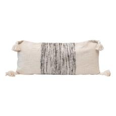 Woven Cotton Blend Lumbar Pillow w/ Varigated Grey Yarns & Tassels