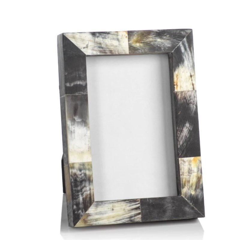 Zodax African Black Horn Inlaid 4x6 Photo Frame