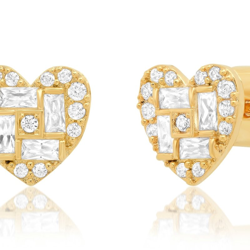 Tai Gold/ Clear Mixed Sized CZ Heart Post
