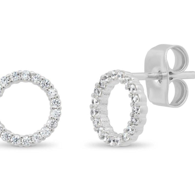 Tai Silver clear CZ Open Circle Earrings