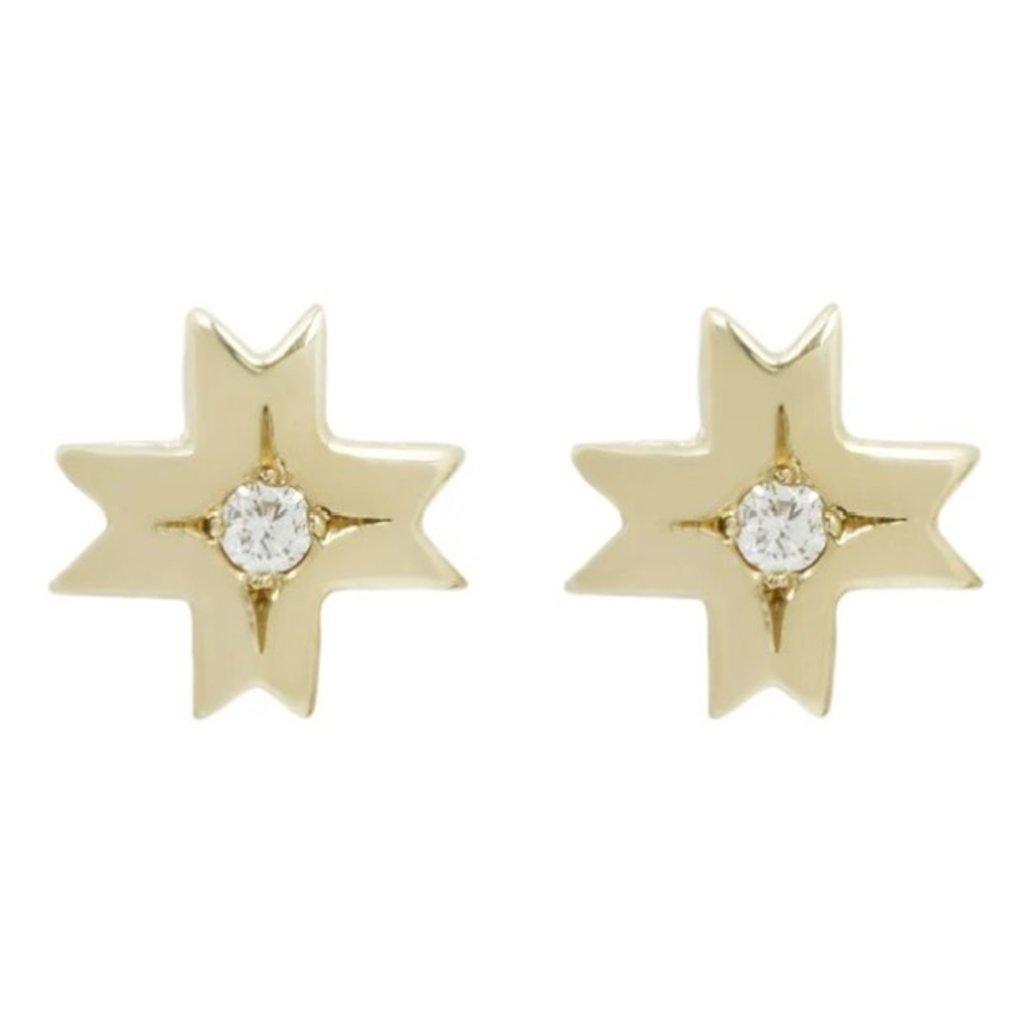 Marisa Mason Astral 14k Gold w Diamond Small Studs