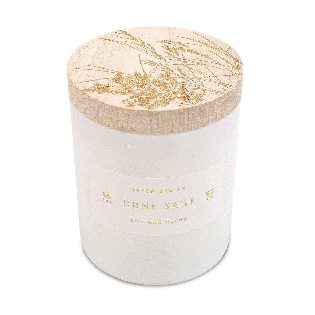 Skeem Small Print Block Candle Dune Sage