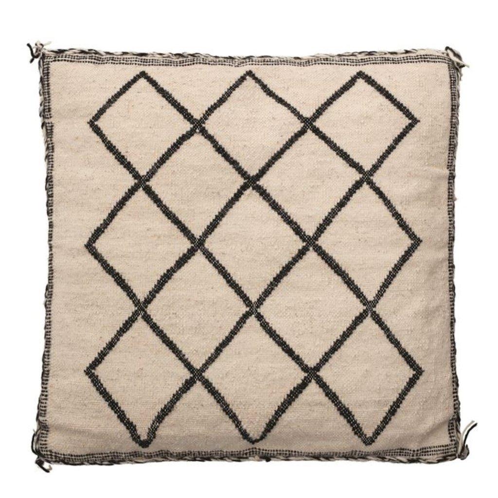 "20"" Square Woven Wool & Cotton Blend Pillow w/ Tassels"