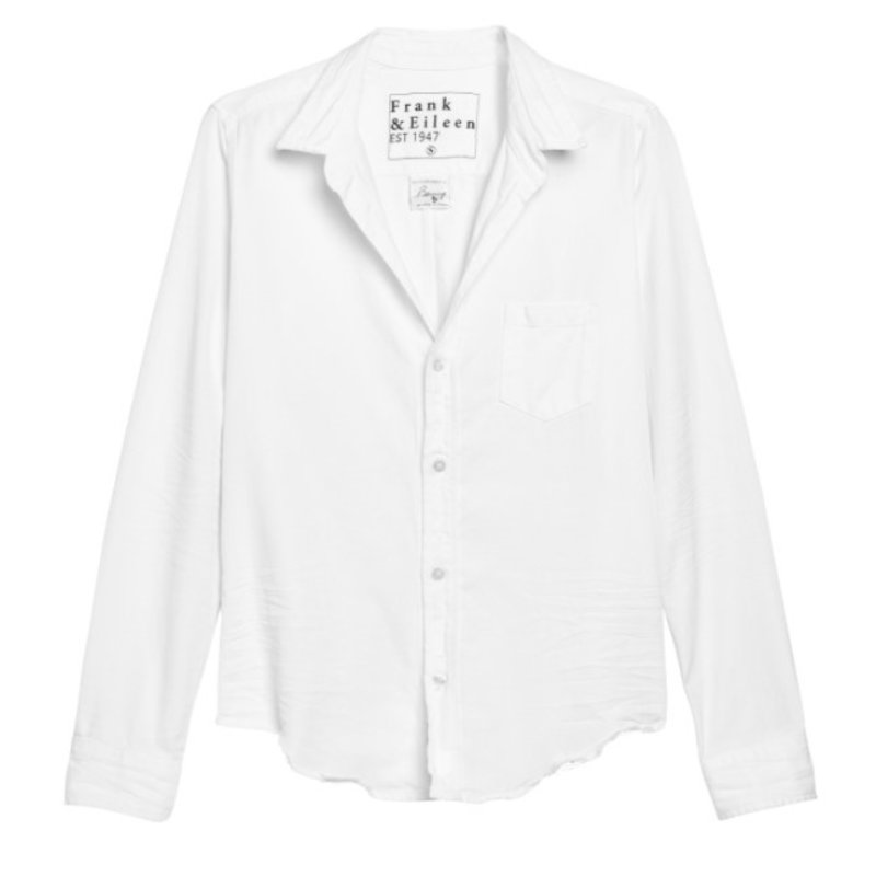 Frank & Eileen Barry Woven Button Up White Tattered Wash Denim