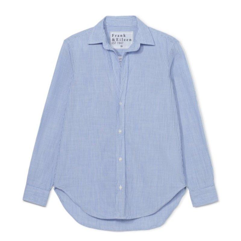 Frank & Eileen Frank Woven Button Up Blue w Thin White Stripe