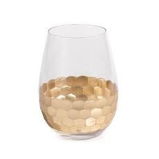 Fez Cut Stemless Wine Glass w/ Gold Leaf Set of 4
