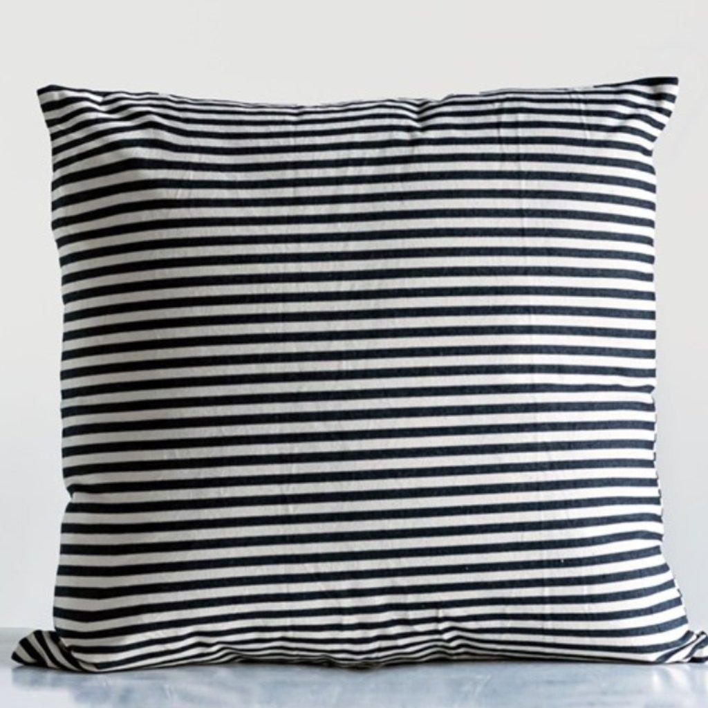 "24"" Sq Cotton Striped Pillow"
