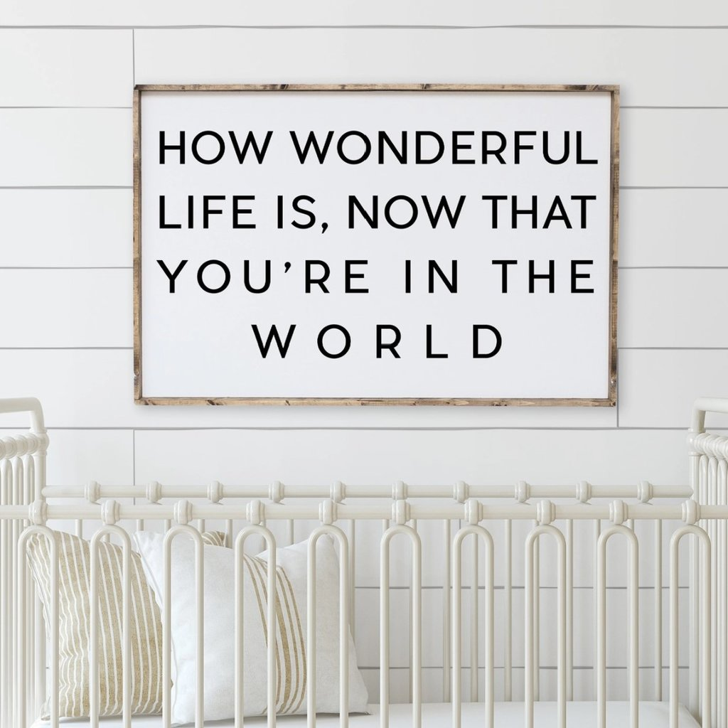 How Wonderful Life is Now That You're in the World Sign