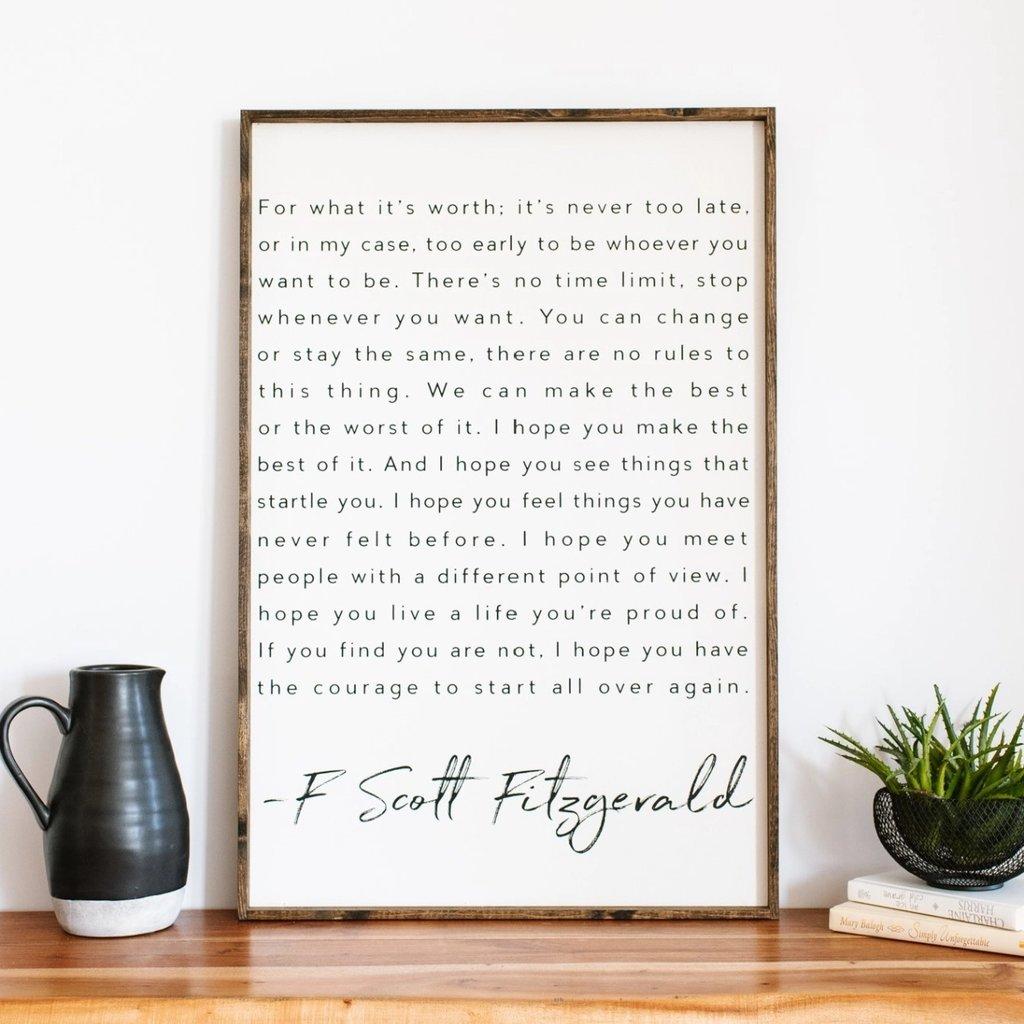 F Scott Fitzgerald Wood Sign