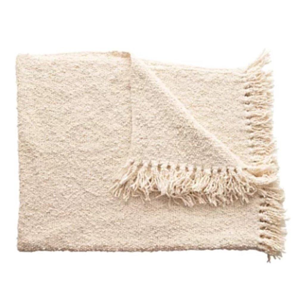 Cotton Blend Boucle Throw w/ Fringe