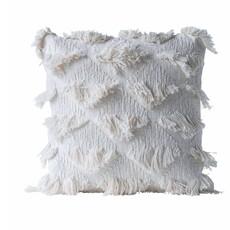 Square Cotton Woven Pillow w/ Eyelash Fringe
