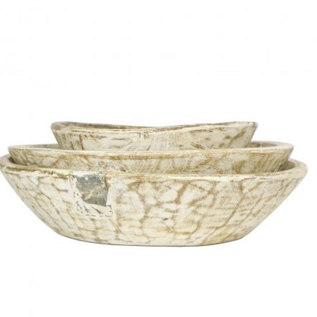 Set/3 White Washed Vintage Bowl
