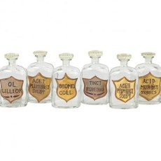 Set of 6 Painted Apothecary Bottles