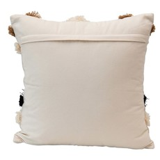 Cotton Lumbar Pillow w/ Appliqued Fringe Pattern, Multi Color