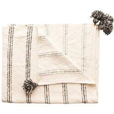Woven Cotton Blend Stripes & Tassels, Black & Cream Color Throw