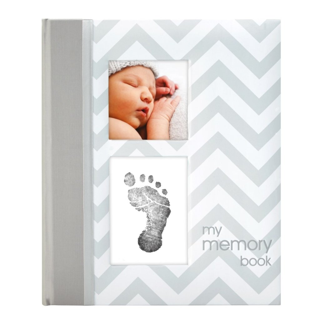 Chevron Baby Book and Clean Touch Ink Pad Kit Gray