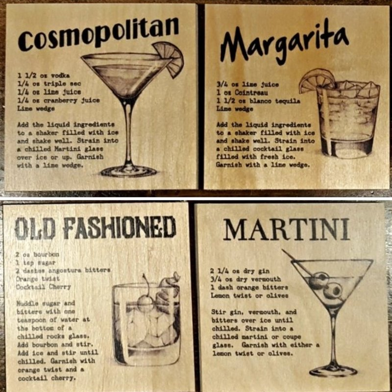 Cocktail Coasters Set of 4