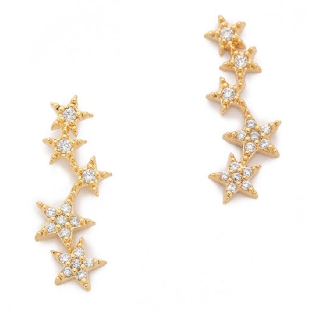 Tai Cz 5 Star Stud Earrings
