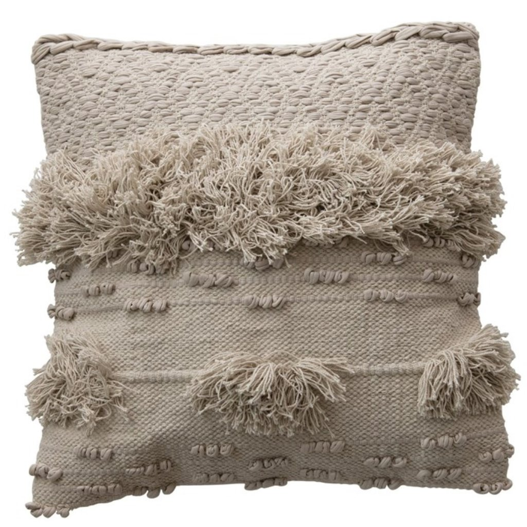 """20"""" Square Cotton Textured Pillow with Fringe, Cream Color"""