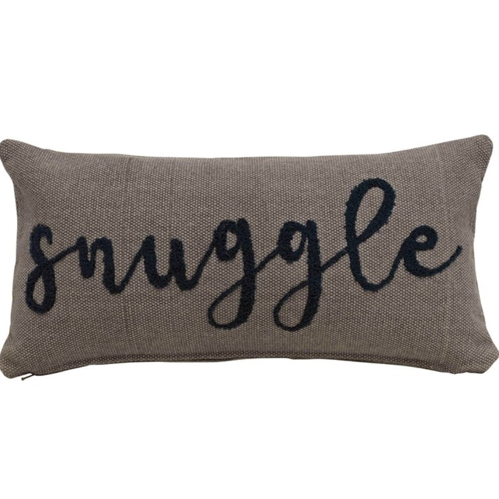 """WCotton Lumbar Pillow w/ Embroidered """"Snuggle"""", Grey & Navy Color"""