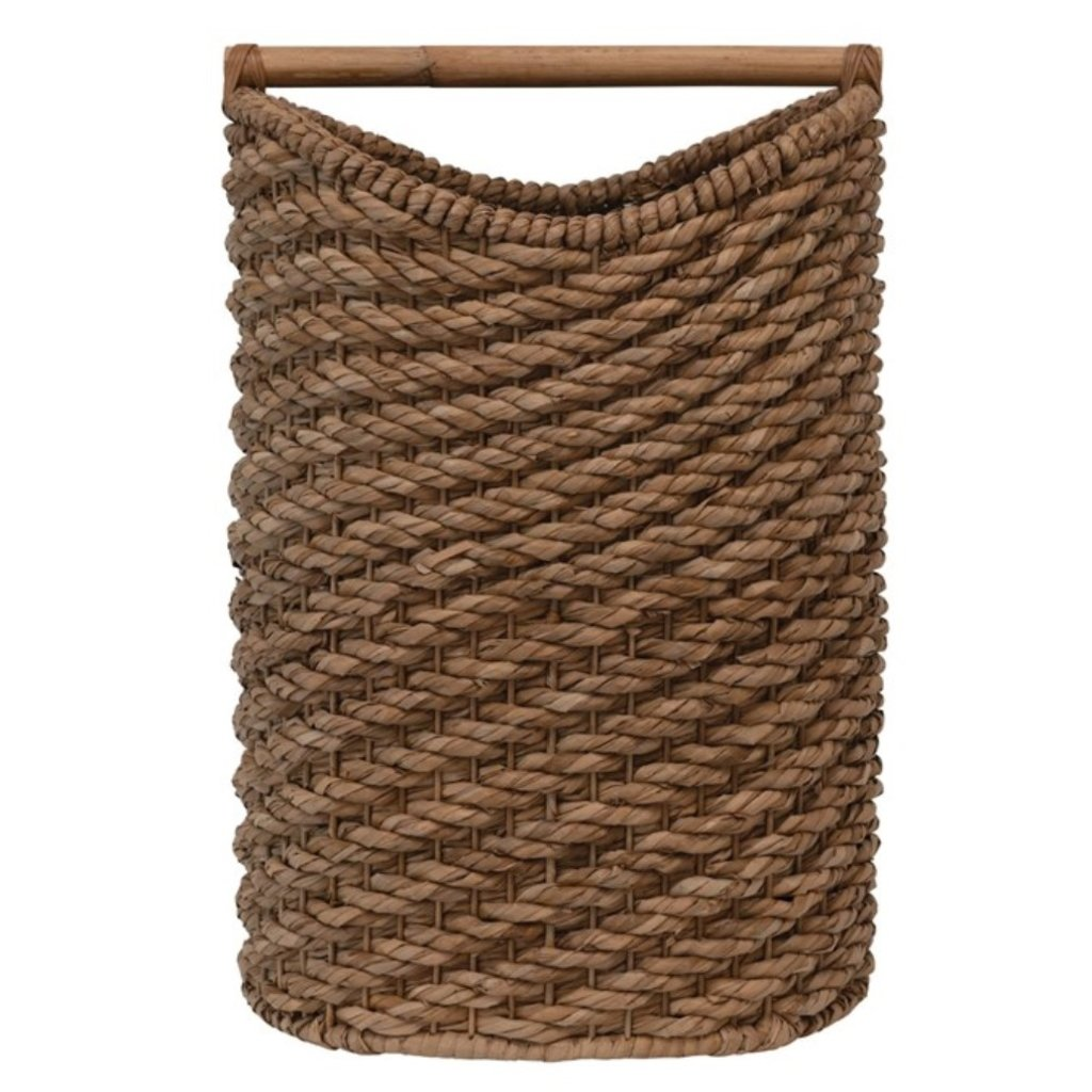 Braided Seagrass Laundry Basket with Rattan Handle