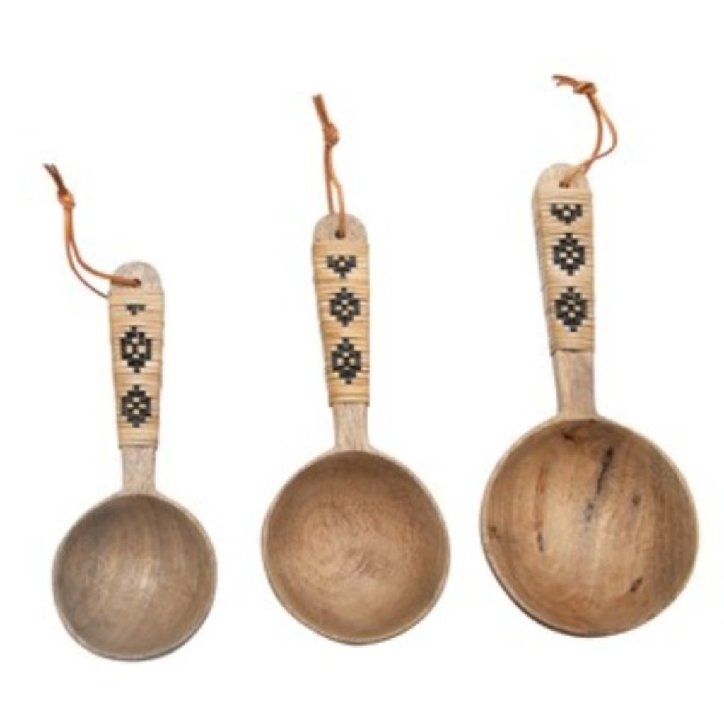 Mango Wood Scoops with Patterned Rattan Wrapped Handles & Leather Ties, Set of 3