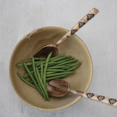 Mango Wood Salad Servers with Patterned Rattan Wrapped Handles, Set of 2 in Drawstring Bag